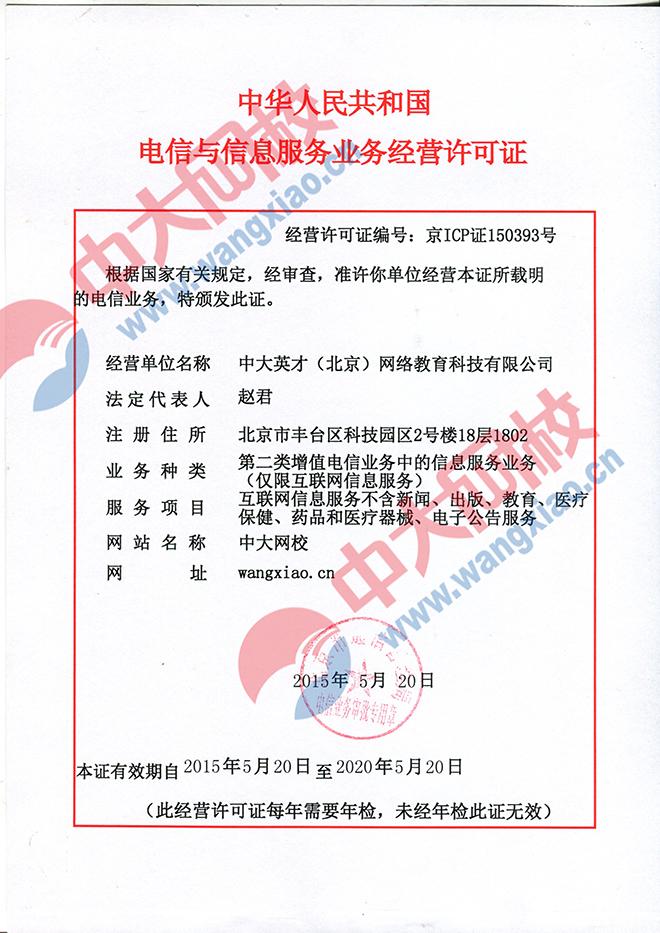 中大網校ICP證書