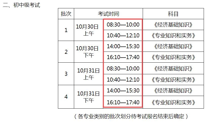 2021年初中级经济师考试时间安排