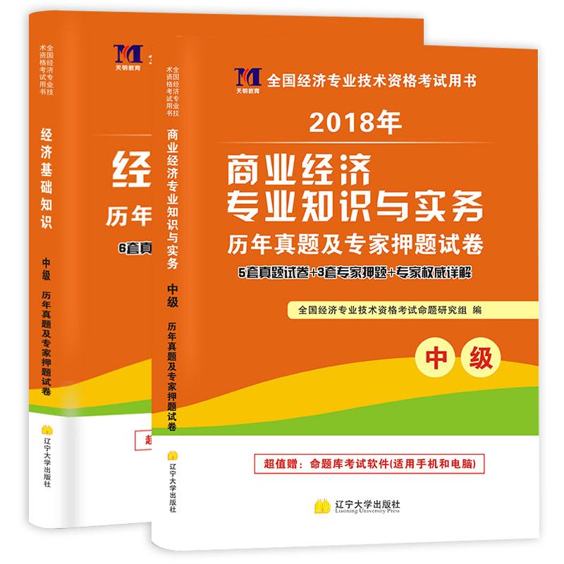 天明2018年中级经济师考试历年真题及专家押题试卷  经济基础+商业  共2本