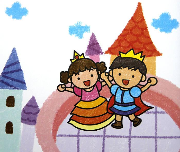 幼儿教育:儿童油棒画《王子和公主》-中大网校儿童