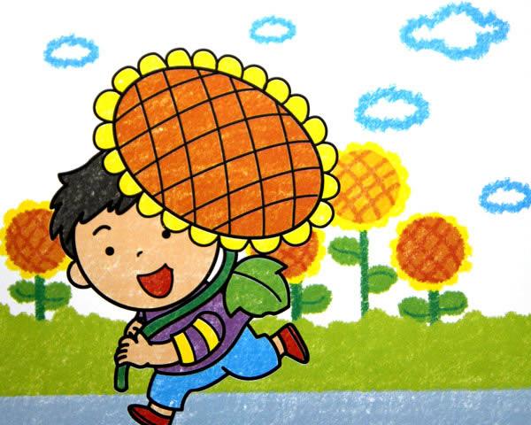 儿童油棒画《向日葵》