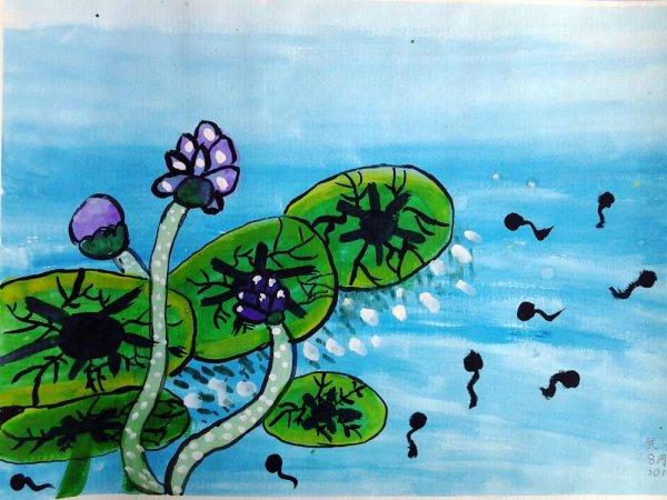 儿童水彩画《荷塘一角》