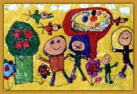 幼儿教育:儿童水彩画《《我们都是好朋友》》-中大