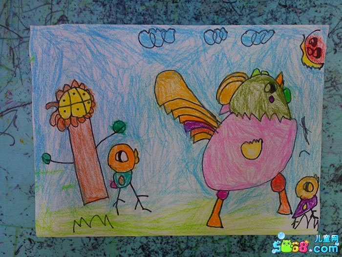儿童水彩画《手绘水彩画图片大全-英武的小公鸡》