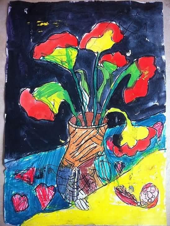 画水粉简笔画桔子树