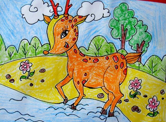 幼儿教育:儿童版画《可爱的小鹿》-中大网校儿童教育