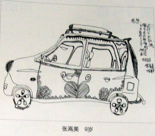优秀儿童线描简笔画-越野小车;; 儿童画线描静物写生吉普车