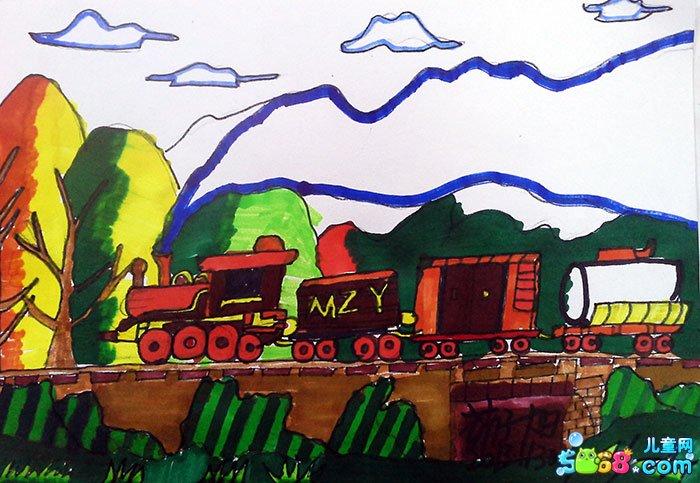 儿童水彩画《手绘水彩画图片大全-动力火车》