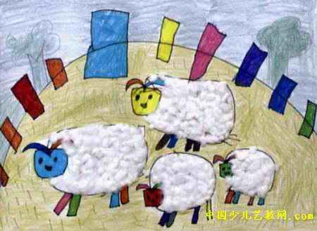 幼儿教育:装饰画《《可爱的绵羊》》-中大网校儿童