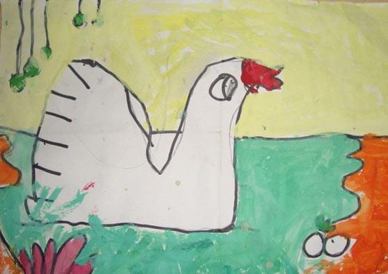 儿童水彩画《池塘里的大白鹅》