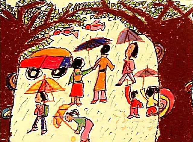 幼儿教育:儿童油棒画《下雨了》-中大网校儿童教育网