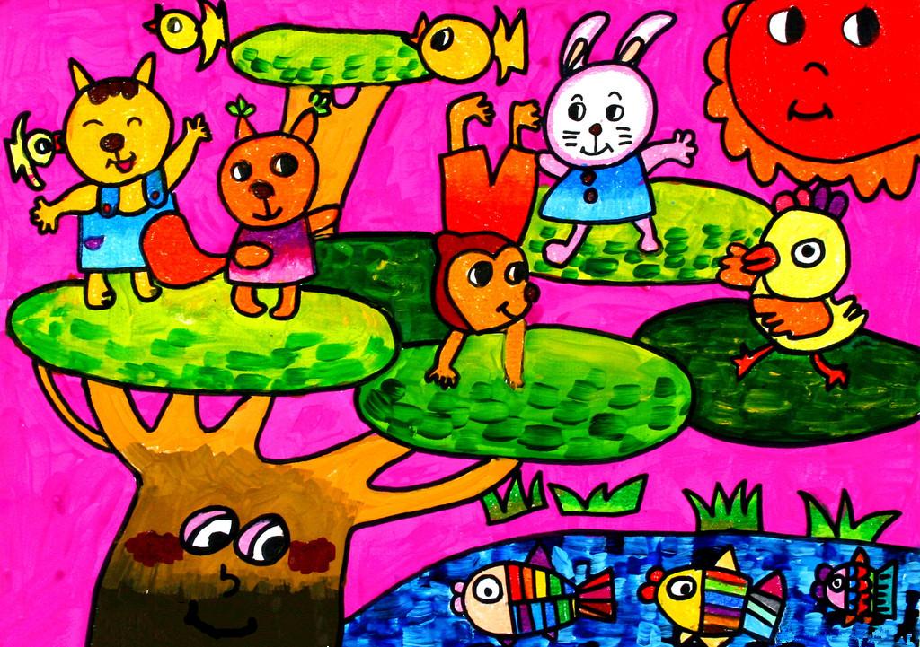 儿童水彩画《动物的世界》