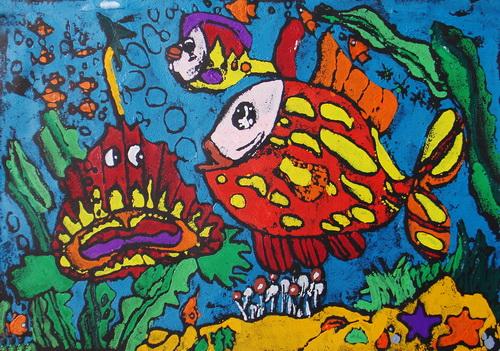 幼儿教育:儿童版画《海底世界》-中大网校儿童教育网