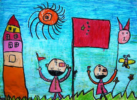 儿童油画棒作品—我和国旗比高高;