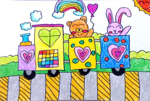 幼儿教育:儿童水彩画《小动物坐火车》-中大网校儿童