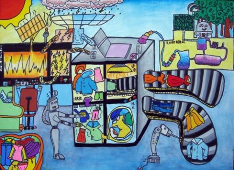 儿童油棒画《未来时代》
