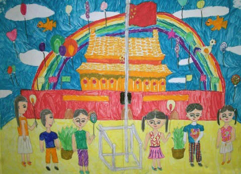 幼儿教育:儿童水彩画《我爱国旗》-中大网校儿童教育