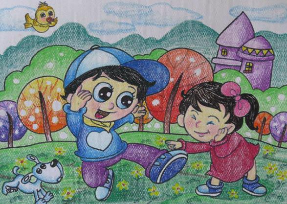 儿童水彩画《田野游玩》图片