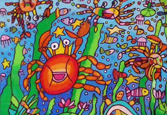 儿童水彩画《鱼的世界河底》
