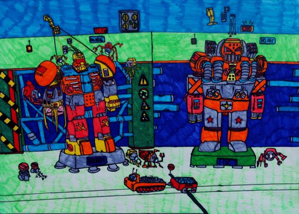 儿童科幻画《变形机器人》