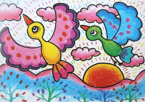 幼儿教育:儿童油棒画《飞翔的鸟儿》-中大网校儿童