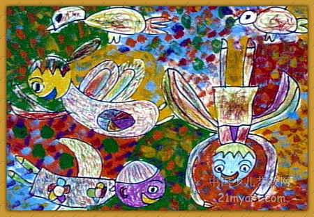 水粉画《《飞的翅膀》》