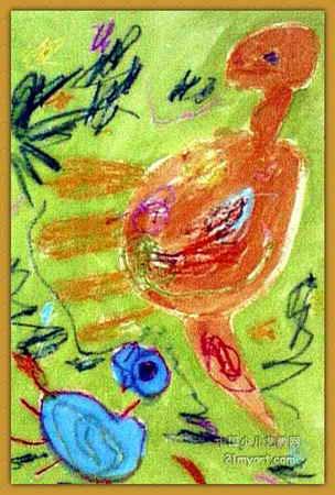 儿童画; 儿童蜡笔画:恐龙爸爸; 儿童油棒画《《恐龙爸爸不在家》》