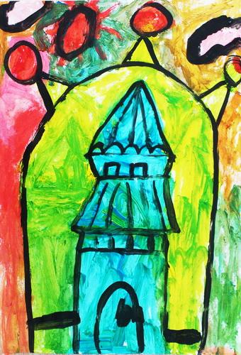 水粉画《我的小城堡》