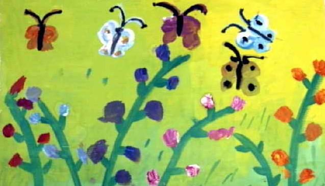 水粉画《蝴蝶找花》