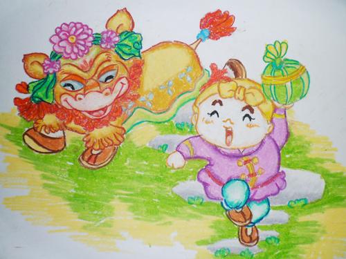 幼儿教育:水粉画《狮子滚绣球》-中大网校儿童教育网