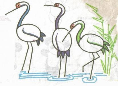儿童水彩画《丹顶鹤》