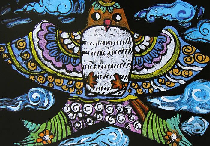 儿童版画《飘扬的风筝》