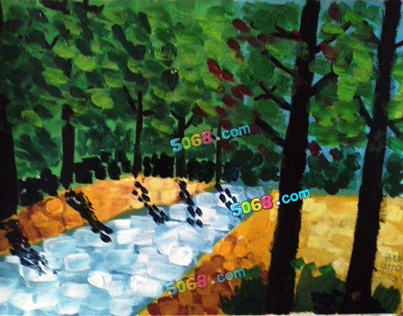 儿童水彩画《儿童画画图片大全-茂密的树林》