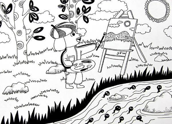 幼儿教育:线描《小狗画画》-中大网校儿童教育网