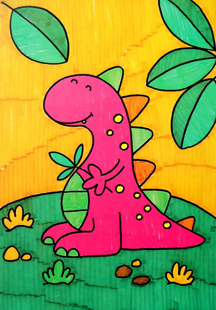 幼儿教育:儿童水彩画《可爱的恐龙》-中大网校儿童