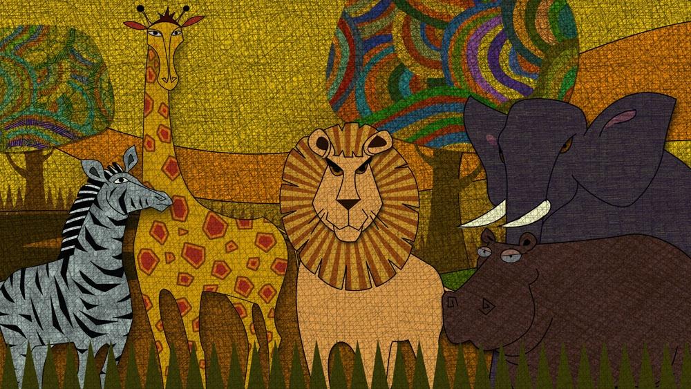 儿童版画《森林里的小动物》