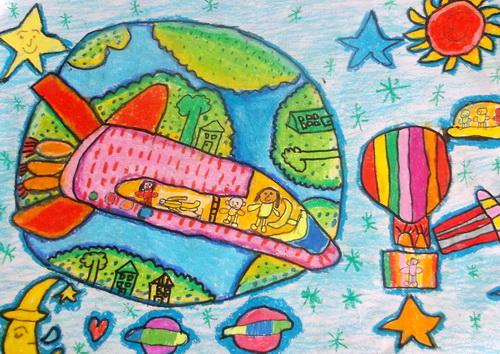 儿童科幻画《穿越时空》