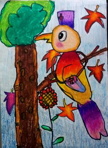儿童油棒画《森林医生》图片
