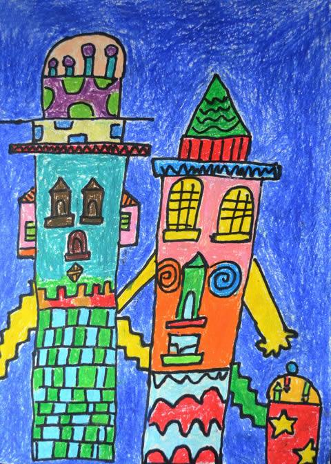 幼儿教育:儿童油棒画《童话城堡》-中大网校儿童教育