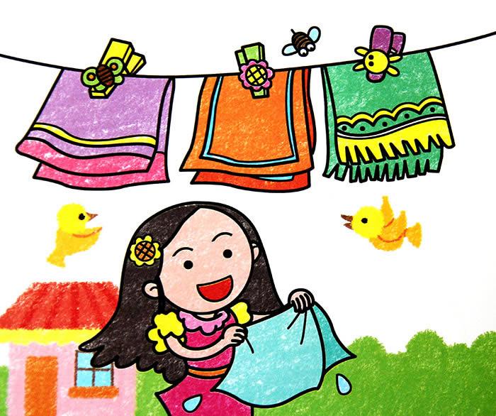 幼儿教育:儿童油棒画《晾毛巾的小姑娘》-中大网校