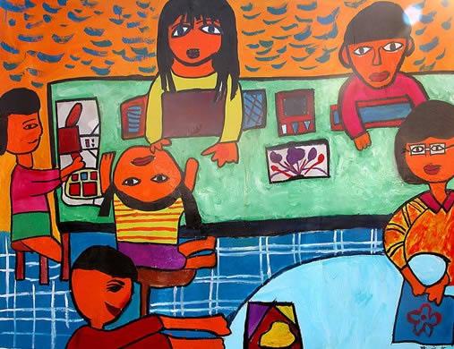 儿童水彩画《我们的美术课堂》