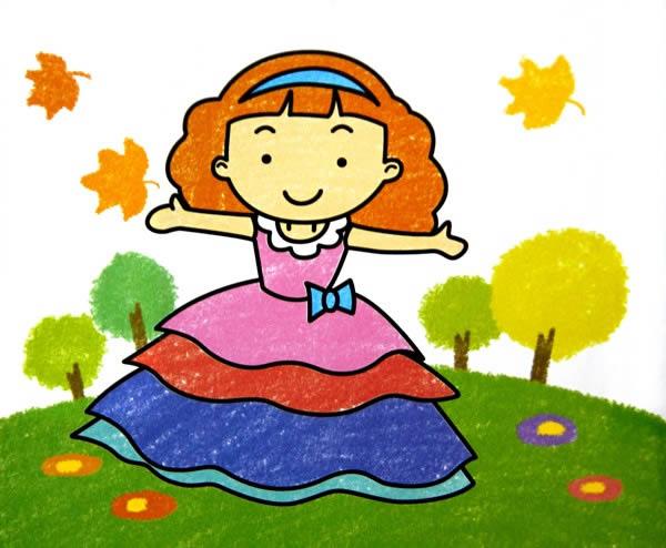 儿童油棒画《漂亮的花裙子》
