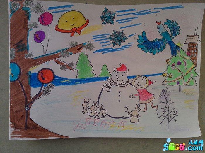 幼儿教育:儿童水彩画《冬天景色图片儿童画-我来堆》图片