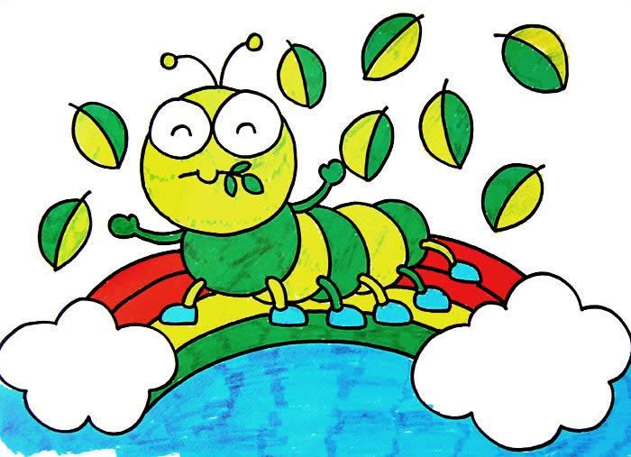 儿童水彩画《毛毛虫》