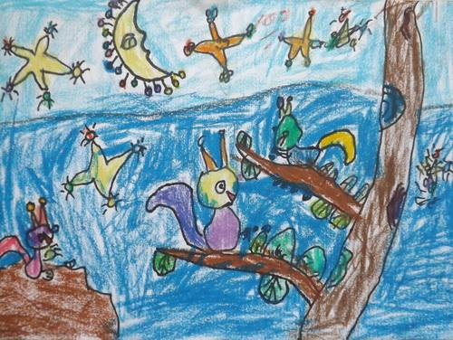 儿童油棒画《小松鼠》