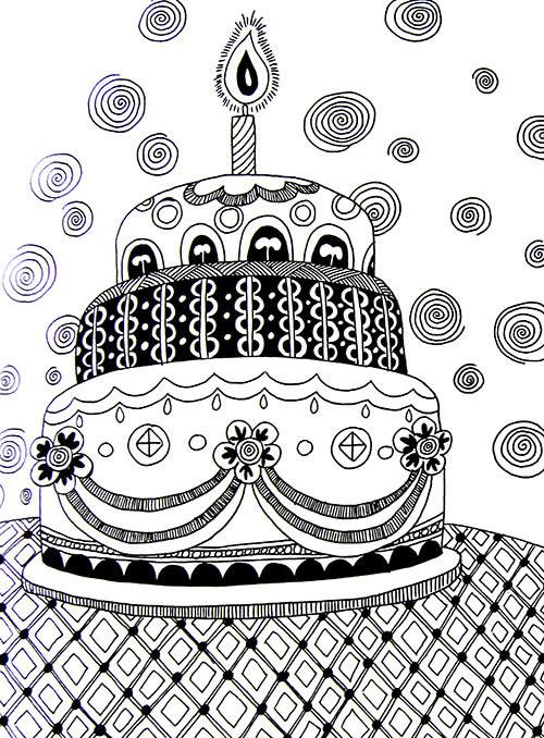 简单蛋糕卡通画