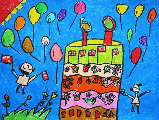 幼儿教育:儿童油棒画《祖国妈妈的生日蛋糕》-中大
