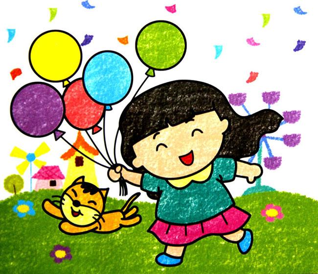 幼儿教育:儿童油棒画《玩气球的小女孩》-中大网校