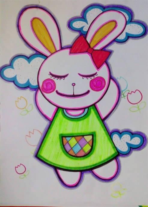 幼儿教育:儿童油棒画《可爱的小白兔》-中大网校儿童