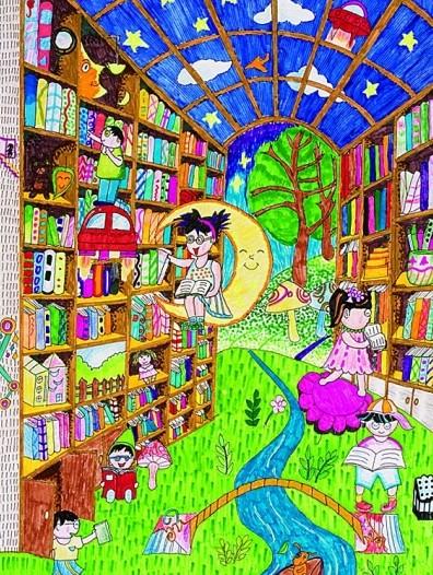 儿童科幻画《科技图书馆》图片
